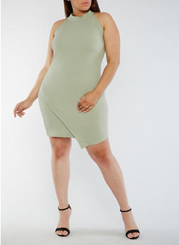 Plus Size Asymmetrical High Neck Dress - 0390058933001