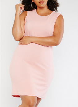 Plus Size Solid Bodycon Tank Dress - 0390058935000