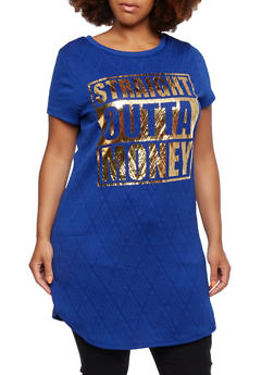 Plus Size T-Shirt Dress with Geometric Quilting and Straight Outta Money Print - 0390058938027
