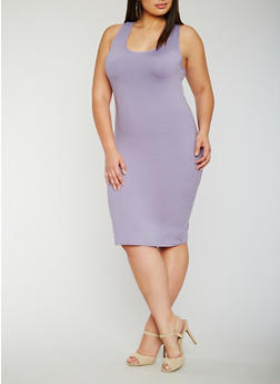 Plus Size Soft Knit Midi Tank Dress - 0390060580150
