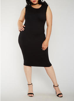 Plus Size Soft Knit Bodycon Dress - BLACK - 0390060580250