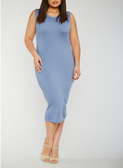 Plus Size Soft Knit Bodycon Dress - 0390060580250