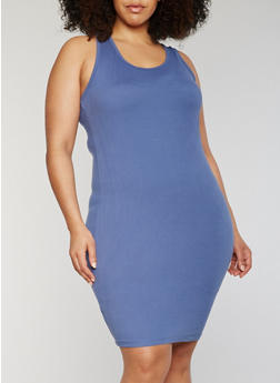 Plus Size Solid Raceback Midi Dress - 0390060580350