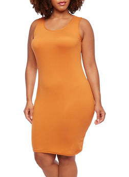 Plus Size Brushed Knit Dress - 0390060582250