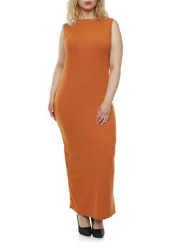 Plus Size Rib-Knit Maxi Dress with a Mock Neck - 0390060582479