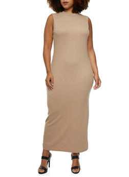 Plus Size Rib-Knit Maxi Dress with a Mock Neck - 0390060582479
