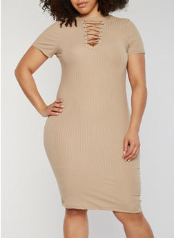 Plus Size Rib Knit Lace Up V Neck Bodycon Dress - KHAKI - 0390060582758