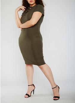 Plus Size Rib Knit Lace Up V Neck Bodycon Dress - OLIVE - 0390060582758