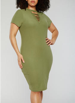 Plus Size Rib Knit Lace Up V Neck Bodycon Dress - SAGE - 0390060582758