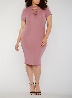 Plus Size Rib Knit Lace Up V Neck Bodycon Dress - MAUVE - 0390060582758