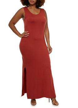 Plus Size Brushed Knit Maxi Dress - 0390060583250