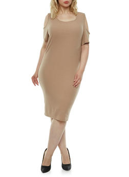 Plus Size Shift Dress with Cold Shoulders - 0390060583479