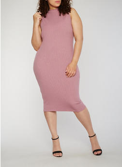 Plus Size Rib Knit Sleeveless Bodycon Dress - 0390060584479