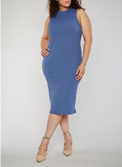 Plus Size Rib Knit Sleeveless Bodycon Dress - 0390060584479