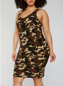 Plus Size Camouflage Racerback Tank Dress - 0390060585374