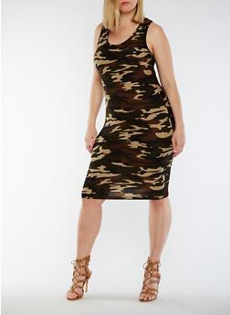 Plus Size Camo Print Racerback Tank Dress - 0390060586374
