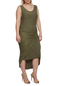 Plus Size Maxi Dress with Gathered Knot Accent - 0390061633909