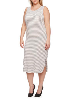 Plus Size Striped Dress with Scoop Neck and Side Slit - 0390061633949