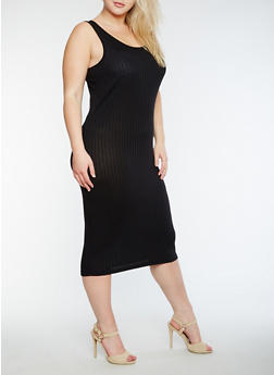 Plus Size Solid Rib Knit Tank Dress - BLACK - 0390061635508