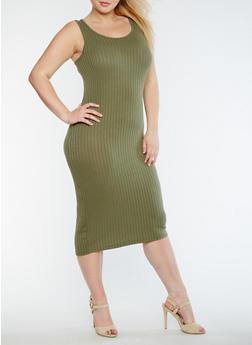 Plus Size Solid Rib Knit Tank Dress - OLIVE - 0390061635508