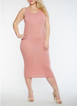 Plus Size Solid Rib Knit Tank Dress - ROSE - 0390061635508
