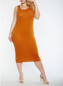Plus Size Solid Rib Knit Tank Dress - 0390061635508