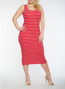 Plus Size Striped Tank Dress - 0390061636779