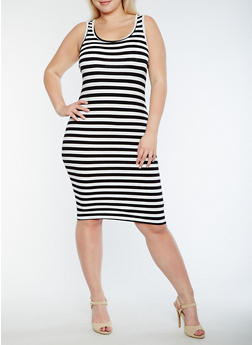 Plus Size Striped Tank Dress - 0390061637691