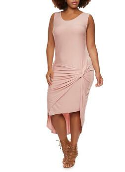 Plus Size Knot Front Midi T-Shirt Dress - 0390061638699