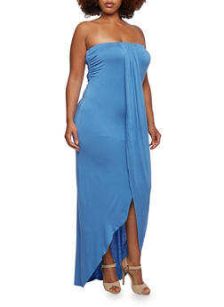 Plus Size Strapless Maxi Dress with Draped Accent at Front - 0390061639368