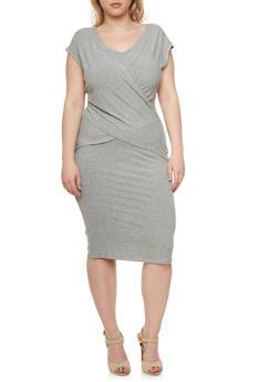 Plus Size Rib-Knit Dress with Layered Wrap Paneling - 0390061639376