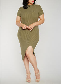 Plus Size Rib Knit Dress with Asymmetrical Hem - OLIVE - 0390061639475