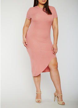 Plus Size Rib Knit Dress with Asymmetrical Hem - 0390061639475
