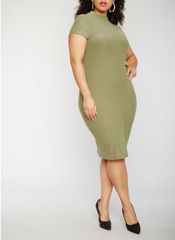 Plus Size Short Sleeve Funnel Neck Midi Dress - 0390061639514