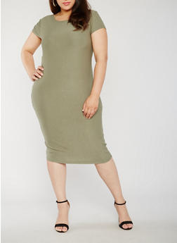 Plus Size Soft Knit Bodycon Dress with Caged Back - 0390061639516