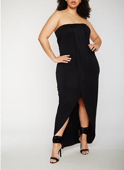 Plus Size Strapless Overlay Maxi Dress - BLACK - 0390061639527