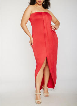 Plus Size Strapless Overlay Maxi Dress - 0390061639527