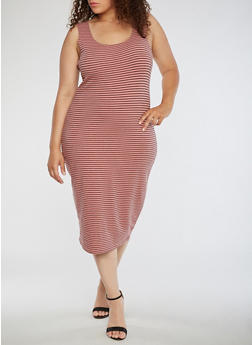 Plus Size Striped Tank Dress - 0390061639575