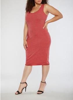Plus Size Striped Tank Dress - 0390061639575