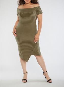 Plus Size Striped Off the Shoulder Dress - 0390061639580