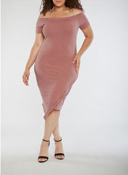 Plus Size Striped Off the Shoulder Dress - 0390061639580