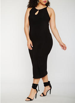 Plus Size Rib Knit Tank Dress - BLACK - 0390061639583