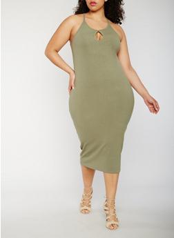 Plus Size Rib Knit Tank Dress - OLIVE - 0390061639583