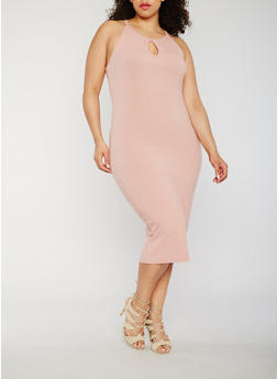 Plus Size Rib Knit Tank Dress - 0390061639583