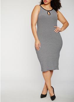 Plus Size Striped Midi Tank Dress - 0390061639584