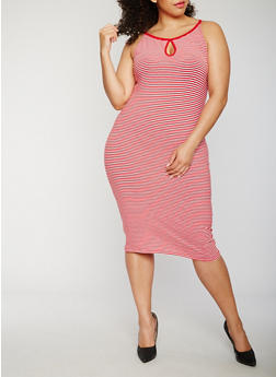 Plus Size Striped Midi Tank Dress - 0390061639584