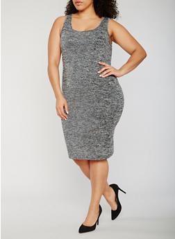 Plus Size Marled Tank Dress - 0390061639585
