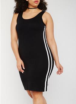 Plus Size Solid Tank Dress with Varsity Stripes - 0390061639588