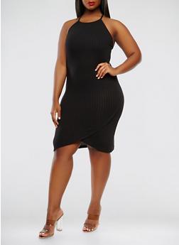 Plus Size Rib Knit Tank Dress - 0390061639658
