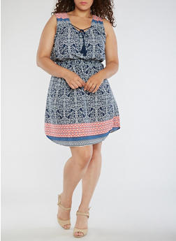 Plus Size Sleeveless Boarder Print Dress - 0390068700031